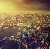 London aerial view with  Tower Bridge Stock Image