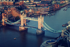 London aerial view with Tower Bridge. In sunset time stock photography