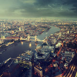 London aerial view with  Tower Bridge in sunset time Stock Image