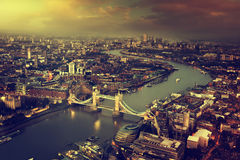 London aerial view with  Tower Bridge in sunset time Stock Photos