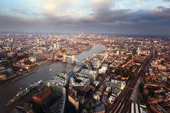 London aerial view with Tower Bridge Stock Photo