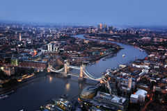 London aerial view with Tower Bridge, UK. London aerial view with Tower Bridge, London, UK royalty free stock image