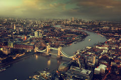 London aerial view with Tower Bridge Stock Photos