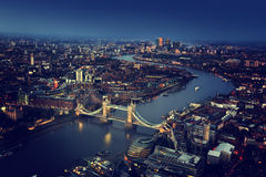 London aerial view with Tower Bridge Royalty Free Stock Photo