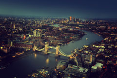 London aerial view with Tower Bridge Royalty Free Stock Image