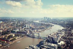 London aerial view with Tower Bridge. UK stock photos