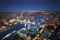London aerial view with Tower Bridge Stock Photography