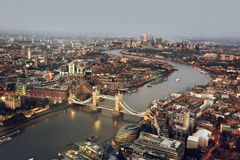 London aerial view with Tower Bridge, UK Royalty Free Stock Image