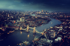 London aerial view with Tower Bridge, UK Stock Photos