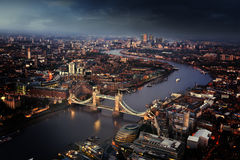 London aerial view with Tower Bridge, UK Royalty Free Stock Photo