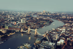 London aerial view with Tower Bridge, UK Royalty Free Stock Images