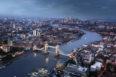 London aerial view with Tower Bridge, UK Royalty Free Stock Photos