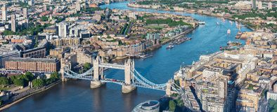London aerial view with Tower Bridge. View to the skyline of London with tower bridge and business district in london. ideal for websites and magazines layouts stock image