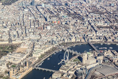 London from the air. View of the river Themes Royalty Free Stock Image