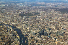 London from the air. View of the river Themes Stock Images