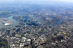 London from the air. View of the river Themes Stock Photography