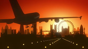 London Airplane Skyline Sunrise Landing Stock Images
