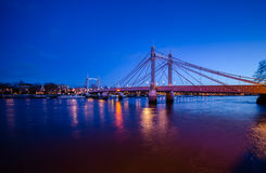 London. Albert Bridge River Thames early morning Royalty Free Stock Images