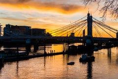 London Albert Bridge at Sunset. Horizontal photography Royalty Free Stock Photo