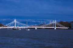 London. Albert Bridge, Thames River ,Capital of England  ,sunny day in England Royalty Free Stock Photography