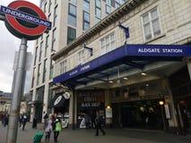 London Aldgate underjordisk station royaltyfria foton