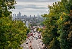 London-Ansicht von der Torbogen Hornsey-Wegbrücke lizenzfreie stockfotos