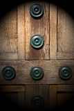 In london antique bro wn door  rusty  brass nail and light Stock Photography