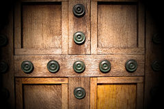 In london antique brown door  rusty  brass nail and light Stock Photo