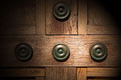 In london antique  door  rusty  brass nail and light Royalty Free Stock Images