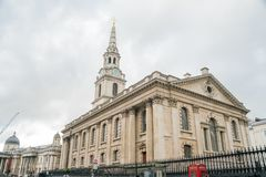 Exterior view of the St Martin-in-the-Fields church. London, APR 15: Exterior view of the St Martin-in-the-Fields church on APR 15, 2018 at London, United stock photos