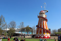 LONDON - APRIL 5. A Helter Skelter on April 5, 2014. The opening day of the new Queen Elizabeth Olympic Park, a landscaped public area in Stratford, London Stock Photo
