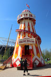 LONDON - APRIL 5. A Helter Skelter on April 5, 2014. The opening day of the new Queen Elizabeth Olympic Park, a landscaped public area in Stratford, London Royalty Free Stock Photography