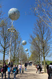 LONDON - APRIL 5. Pierced aluminium spheres hanging across path Stock Photography