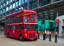 Double decker. LONDON - APRIL 17: Red Double Decker Bus on the Canon street in London on April 17, 2016 in London, UK. These dobledecker bus is one of the most Royalty Free Stock Images