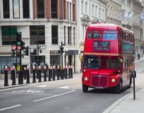 Double decker. LONDON - APRIL 17: Red Double Decker Bus on the Canon street in London on April 17, 2016 in London, UK. These dobledecker bus is one of the most Royalty Free Stock Image