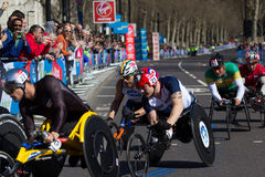 LONDON - APRIL 21: Wheelchair competitors at the Virgin London M Stock Image