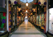London Arcade at Christmas. Burlington Arcade at Piccadilly in London at Christmas time. Picture taken on December 24, 2007 in London, UK Royalty Free Stock Image