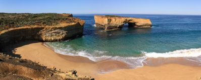 Panoramic view of the London Arch formerly London Bridge on a glorious morning, Port Campbell National Park, Victoria, Australia. London Arch formerly London stock photography