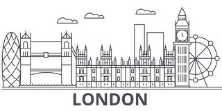 London architecture line skyline illustration. Linear vector cityscape with famous landmarks, city sights, design icons. Editable strokes Stock Photo
