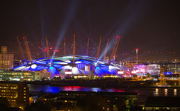 London arena with lights, London night life concept Royalty Free Stock Photography