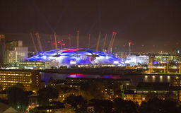 London arena with lights, London night life concept Stock Image