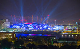 London arena with lights, London night life concept Royalty Free Stock Images