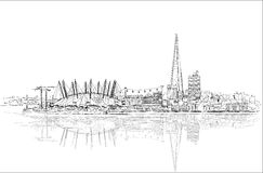 London arena and Shard of glass, Sketch collection illustration Stock Photo