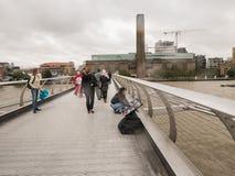 London artist displays her paintings on Millennium Bridge Stock Photos