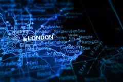 London auf Karte Lizenzfreie Stockfotografie