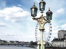 London-Auge unter Lampen Stockbild