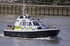 London, 8 August, 2012-Police boat patrolling on the river Thame. S, during the 2012 London Olympics Royalty Free Stock Photography