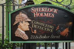 LONDON - AUGUST 24, 2017: The Sherlock Holmes museum. LONDON - AUGUST 24, 2017: The Sherlock Holmes museum is located on Baker Street and is dedicated to the royalty free stock image