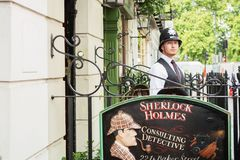LONDON - AUGUST 24, 2017: The Sherlock Holmes museum is located. On Baker Street and is dedicated to the fictional detective Sherlock Holmes royalty free stock images