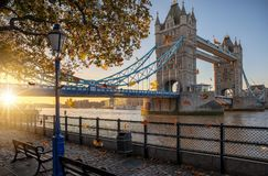 Golden sunrise behind the Tower Bridge in London, United Kingdom Stock Photos